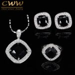 <b>Fashion</b> Black CZ Crystal <b>Jewelry</b> Set For Women Sterling Silver 925 Zircon Necklace Earring And Rings Sets Mothers Day Gift T258