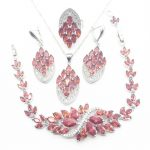 <b>Silver</b> 925 Jewelry Sets Red Cubic Zirconia White CZ Beads For Women Earrings/Pendant/Ring/<b>Bracelet</b>/Necklace Set T0009-1
