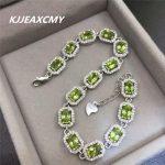 KJJEAXCMY Fine jewelry Peridot female <b>bracelet</b>, natural stone, S925 sterling <b>silver</b>, rose gold jewelry