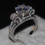 Romantic <b>Jewelry</b> Women men ring Round cut 9mm 3ct AAAAA zircon cz 925 Sterling silver Lovers Engagement <b>Wedding</b> Band Ring
