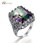 Luxury Palace Wind Rings Square Cut Mystic Fire Rainbow Lab Topaz 925 Sterling <b>Silver</b> Rings Fashion Punk Party <b>Jewelry</b> For Women
