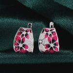 RainMarch <b>Handmade</b> Enamel Stud Earrings Silver For Women Engagement 925 Sterling Silver Earring Bohemian Flower enamel <b>Jewelry</b>