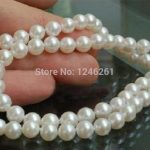 (Minimum Order1) AAA 5-6mm White Freshwater Cultured Pearls Shell Necklace Rope Chain Beads <b>Jewelry</b> <b>Making</b> Natural Stone 18inch