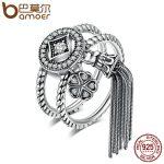 BAMOER 100% 925 Sterling Silver Double Layer Round & Geometric Long Tassel Finger Ring for Women Bohemian Vintage <b>Jewelry</b> SCR088