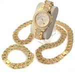 3 Pcs / Set Blingbling Hip Hop Shining stones Watch 24″ Iced Out Cuban Stone Chain Bracelet <b>Necklace</b> Watch Set