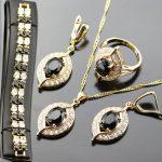 Classy Black Rhinestone <b>Jewelry</b> Set For Women White Zircon Gold Color Rings/Earrings/<b>Necklace</b>/Pendant/Bracelets