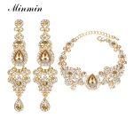 Minmin 2018 New Chandelier Shape Bridal Crystal <b>Jewelry</b> Sets for Women Earrings and Bracelet Sets Wedding Accessory EH162+SL037