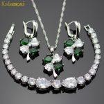 Lan Trinket Trendy Choker Silver 925 <b>Jewelry</b> Sets Green&White AAA Zircon Inlay <b>Necklaces</b>&Pendant /Earrings /Bracelet For Women