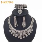 Hadiyana Sparkling Water-drop Tassel Wedding Bridal <b>Jewelry</b> Sets With Cubic Zirconia Hot Dubai 4pcs <b>Jewelry</b> Set For Women CN292
