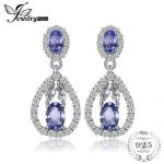 JewelryPalace Elegant 2.8ct Natural Tanzanite White Topaz Drop Dangle Earrings 925 <b>Sterling</b> <b>Silver</b> <b>Jewelry</b> Party Gift For Women