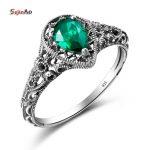 Szjinao Vintage Rings For Women Green Emerald Party Dress Boho Style Big Sale 925 Sterling <b>Silver</b> <b>Jewelry</b> Water Drop Rings
