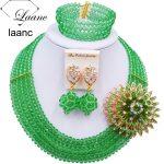 Laanc <b>Handmade</b> Light Green Crystal Beaded Necklace Nigerian Wedding African Beads <b>Jewelry</b> Set for Women 5DS023