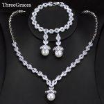 ThreeGraces Classic Marquise Shape Cubic Zircon Crystal Drop Pearl Bracelet Earrings <b>Necklace</b> Bridal <b>Jewelry</b> Sets Wedding JS240