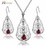 Freshwater Natural Pearl Jewelry Sets Red Rhinestone 925 Sterling <b>Silver</b> Pendant Necklace Pearl <b>Earrings</b> Wedding Jewelry Sets