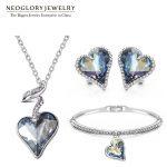 Neoglory Austria Crystal Rhinestone <b>Jewelry</b> Set Heart Wedding Bridal Charm Birthday Gifts For Girlfriend Women 2018 New JS4