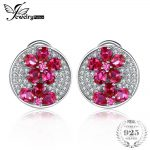 JewelryPalace Flower 4ct Pigeons Bloodss Rubies Earrings Clip Solid 925 Sterling Silver Fashion <b>Wedding</b> Brand <b>Jewelry</b> For Women