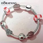 DORAPANG 2018 Valentine's Day Newest 925 Sterling <b>Silver</b> Bangle Red Heart shaped Charm Bead for Women Fashion <b>Bracelet</b> Jewelry