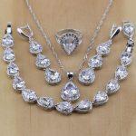 Trendy 925 Sterling <b>Silver</b> Jewelry Drop Shaped White Zircon Jewelry Sets Women Earrings/Pendant/Necklace/Rings/<b>Bracelet</b>