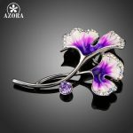 AZORA Luxury Oil Painting Pattern Lotus Leaf Brooches for Women Purple Flower Brooch and Pins Wedding Engagement <b>Jewelry</b> TP0055
