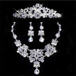 Bridal Rhinestone <b>Jewelry</b> Sets for Women Wedding <b>Accessory</b> Fashion Party Bride Tiaras Crown Necklaces Earrings Set