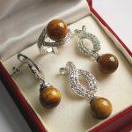 Women's Wedding Hot! high qulity new <b>jewelry</b> plated + 12mm tiger eye stone pendant, earring, , ring set silver mujer moda