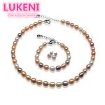 Rainbow color Fashion pearl jewelry set for women 7-8mm high quality natural pearl necklace & <b>bracelet</b> &Earrings Free shipping