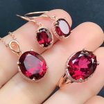 hot sale 925 sterling <b>silver</b> natural gemstone jewelry set MEDBOO new fashion rose red topaz ring <b>earrings</b> pendant necklace set