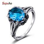 Szjinao 2018 100% <b>Handmade</b> Vintage Wedding Band Rings For Women Oval Cut Dark Blue Topaz Female Engagement <b>Jewelry</b> Wholesale