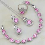 Pink Cubic Zircon White CZ 4PCS 925 Sterling Silver <b>Jewelry</b> Sets For Women Wedding Earring/Pendant/<b>Necklace</b>/Bracelet/Ring