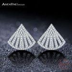ANFASNI Sector Stud Earrings For Women Luxury Top Clear Zirconia Paved 925 Sterling Silver <b>Wedding</b> Earring <b>Jewelry</b> CGSER0096