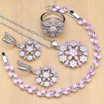 Flower Shaped Cute Princess 925 <b>Silver</b> Jewelry Sets Pink Crystal White Zircon For Women Earrings/Pendant/Necklace/Ring/<b>Bracelet</b>