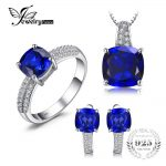 JewelryPalace Square Shape Created Sapphire Ring Pendant Earring Clip <b>Jewelry</b> Set S925 <b>Sterling</b> <b>Silver</b> 925 <b>Sterling</b> <b>Silver</b>