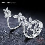 ANFASNI 2017 New 925 Sterling Silver Flower Ring Luxury Exaggerated Rings for Women Engagement Fashion Fine <b>Jewelry</b> CGSRI0041-B