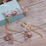 CC <b>Jewelry</b> Crowns Tiaras With 5pcs Sets Earrings Hair Stick <b>Handmade</b> For Women Wedding Decorations Hair Bridal Accessories 0053