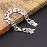 925 <b>Silver</b> Men's <b>Bracelet</b> 12mm Wide Smooth Flower Safe Lock High Polish Link Chain Male Biker <b>Silver</b> <b>Bracelet</b>