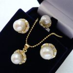 Women's Wedding Shell Pearl Earrings Necklace Ring <b>Jewelry</b> Set>AAA GP Bridal wide watch wings queen Natural