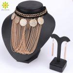 2017 Hot Sale New Fashion <b>Jewelry</b> Sets Statement Tassels Necklace Earrings Sets Women Charming Pendant Chain <b>Accessories</b>
