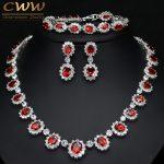 CWWZircons Sparkling Round Cubic Zirconia Luxury Big Bridal Red Necklace Earring Bracelet Set For <b>Wedding</b> Party <b>Jewelry</b> T083