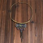 2018 New Ethnic <b>Jewelry</b> Boho Necklace <b>Antique</b> Gold Chain with Colorful Ribbon Geometric Tassel Pendant Necklace Female