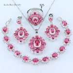 L&B Pure Pink 925 <b>Silver</b> Color Wedding Jewelry Sets For Women Square Earrings Pendant <b>Necklace</b> Ring Free Gift Box