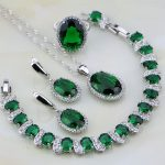 925 Sterling <b>Silver</b> Jewelry Green Created Emerald White Rhinestone Jewelry Sets For Women Earring/Pendant/Necklace/<b>Bracelet</b>/Ring