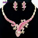 Fashion Animal Gecko Lizard <b>Necklace</b> Earring Sets with Rhinestone Crystal Women <b>Jewelry</b> Set FA3274