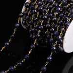 Faceted Round bead Blue Goldstone Rosary Chain,8mm Stone bead Link Brass Wire Wrapped Chain,Fashion <b>Necklace</b> Bracelet <b>Jewelry</b>