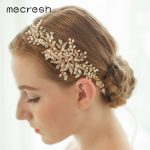 Mecresh Trendy Simulated Pearl Wedding Hair Accessories Light Gold Color Leaf Crystal Bridal Headband Party <b>Jewelry</b> MTS061