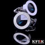 KFLK Luxury shirt cufflinks for mens Brand cuff buttons Blue Crystal cuff link High Quality abotoaduras gemelos Designer <b>Jewelry</b>