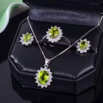 Classic <b>silver</b> jewelry set for party natural peridot <b>silver</b> jewelry solid 925 <b>silver</b> ring <b>earrings</b> pendant gemstone jewelry sets