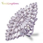 Yunkingdom Geometric Crystal Shiny Big Rings for Women Luxury Fashion Fine <b>Jewelry</b>