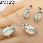 925 <b>Silver</b> <b>Jewelry</b> Sets For Women Long Oval Pink White Blue Opal Bridal Earring Sets Pendant Rings Stud Earrings Free Gift Box
