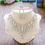 2017 New Rhinestone Brides Wedding Jewelry Sets Princess Tiara Crown Marquise Flower <b>Necklace</b> Earrings Bridal Headdress Collar
