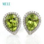Natural peridot,red garnet <b>silver</b> <b>earrings</b>, pears 7X10mm, deep red and green color,nice cutting fire, fashion women jewelry